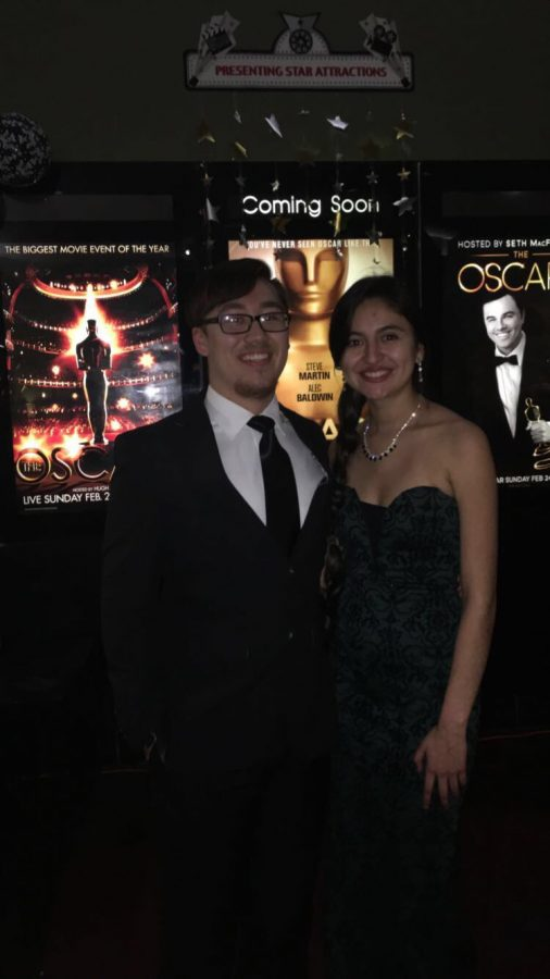 Editor-in-chief Luc Pham and features editor Sofia Sanchez attend the 2017 Oscars Party at Mindframe Theaters in Dubuque, IA.