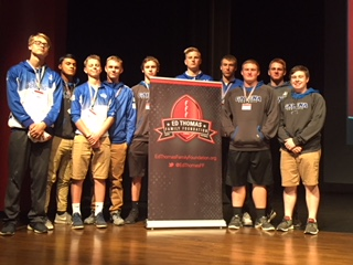 Leadership Matters. Henry Anderson, Duilio Montezuma, Will Nack, Ryan Holland, Connor Behr, Jacob Townsend, Andrew Tepley, Austin Meyer, Peyton Bauer, and Clay Folks take a break from speakers to pose for a picture. This is an annual event for Galena High School football players.