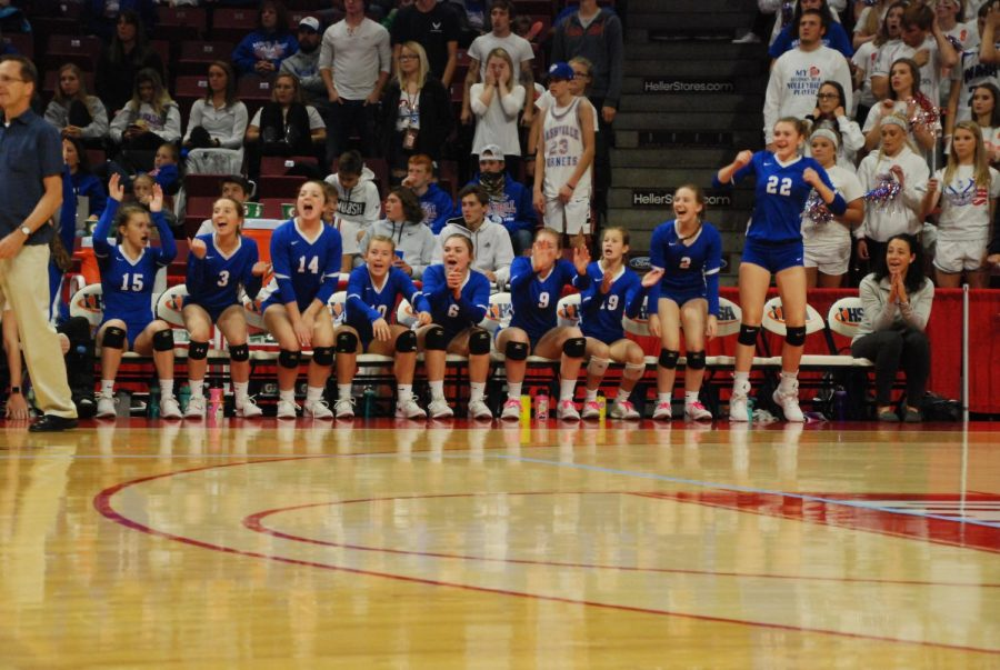 Score%21+The+Lady+Pirates+cheer+on+their+teammates+during+the+IHSA+State+Tournament.+Galena+High+School+played+Nashville+High+School+and+won+in+two+matches%3A+25-14+and+25-2.