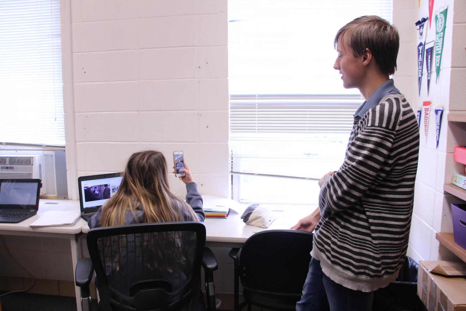 "Snap out of it. Snapchat causes a distraction for seniors Robert Schuh and Addison Soat during their online class. Schuh was going on a rant about online classes, so Soat decided to put his rant on her story. ""Online classes offer many evils that can cause gaps in learning,"" said Schuh."