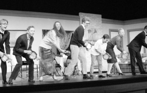 "Let My Love Open the Door. The cast of ""The Nerd"" shake their tambourines during the curtain call on opening hight. From left: Henry Anderson '20, Jack Dregne '19, Jessica Baltierra '19, Evan Soat '19, Everett Noble '26, Sophia Getz '20 and Kyle D. Long '19."