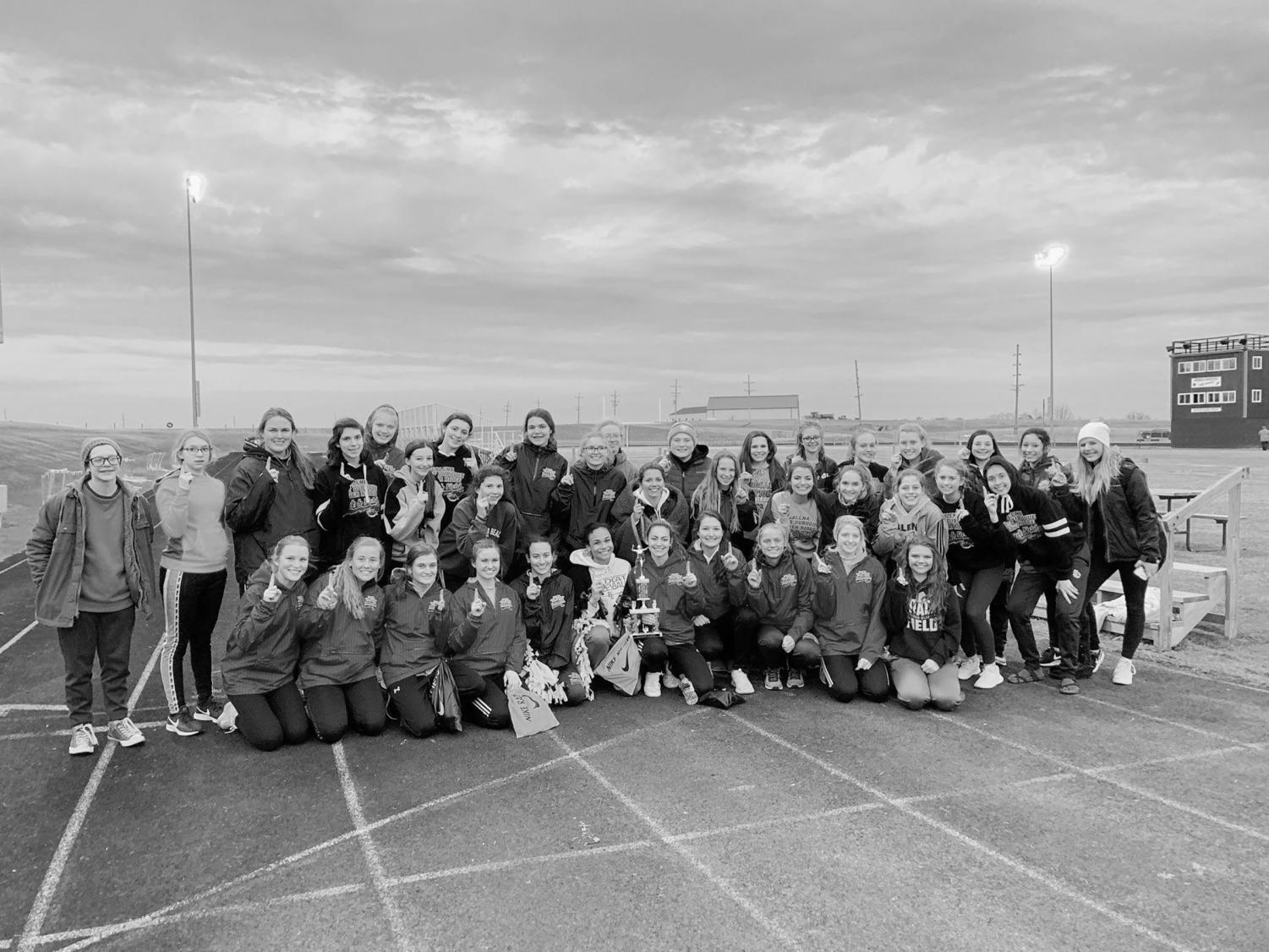 Starting off strong. The girls track team gets together for a photo after winning their meet in Milledgeville.  The team took first place in all but one of the events that night and took second and third place in that event. The team had a great start to the season and will continue to improve.