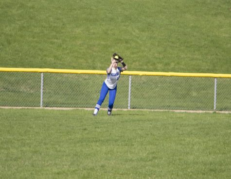 Junior Sami Wasmund makes a routine fly out deep in the outfield to save a run, and close out a long inning for the Pirates.