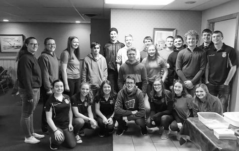 """Galena FFA alumni held their first annual fish fry, followed by the alumni auction. Pictured, Samantha Deinineger, Aly Anderson, Sadie Sedbrook, Sam Niedholdt, Jarrett Bastan, Nate Heuer, Dylan Shemehorn, Austin Meyer, Hunter Bastan, Kade Timmerman, Chance Wills, Connor Einsweiler, Mackenzie Furlong, Maggie Handfelt, Samantha Stoffregen, Chris Simmon, Kenzie Casper, Addison Soat, Sawyer Quick. FFA had a great success at the FFA fundraiser as they sold just under 400 tickets for the dinner that following the auction. Maggie Handfelt '21 said, """" I was happily surprised at how many people showed up to the fish fry. It really meant alot that so many people did show up and rally together for out chapter."""""""