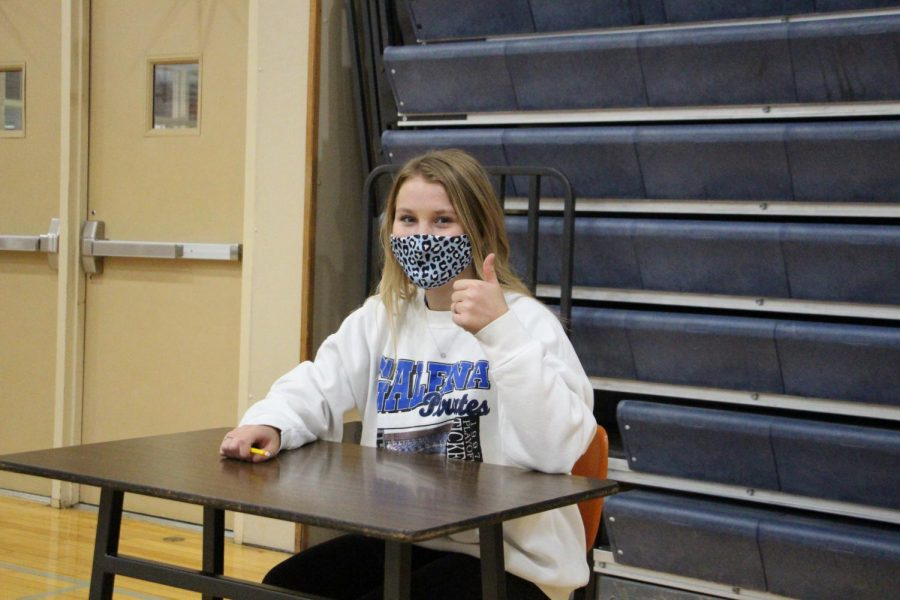 """SAT Ready! Kate Moran '21 waits patiently for the standardized test to begin. """"I looked at the packet and saw that the original date was April 14, 2020, and thought it was crazy that we were supposed to take the test six months ago,"""" she said."""