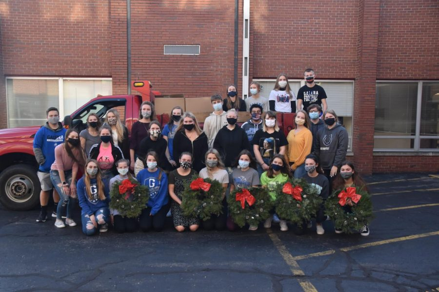 """Teamwork makes the dreamwork. The GHS Key Club poses together after wrapping the one hundred and ten wreaths to donate to CIty Hall for decorating Main Street. Within 30 minutes of working together, they were able to get all of the wreaths shipped off. """"It was a unique way to have people come together during these odd times."""" ,said Sydney Benson '21. """"It was a great way to give back to our community and I had a lot of fun."""""""