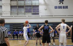 Nothing But Net Senior, Conor Behr scores a free throw after being fouled by the East Dubuque Warriors.