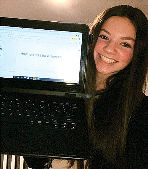 "Maddy Glasgow '22 smiles with her presentation that placed fourth in the virtual competition. She was judged on a 10-minute portion of a lesson plan she created. ""This competition was something I had never done before so I was very happy with the place I got and it was an overall very good experience,"" she said. GHS is proud of Maddy and the work she has put in towards Agriculture Education."
